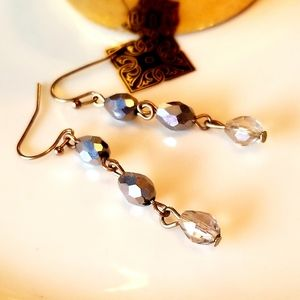 SILVER METAL & GLASS DROP EARRINGS